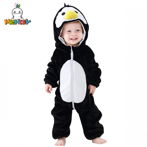 MICHLEY 0-24 Month Baby Animal Costume Winter Autumn Flannel Hooded Romper Newborn Cosplay Clothing