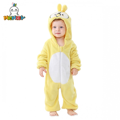 MICHLEY Unisex Baby Animal Costume Winter Autumn Flannel Hooded Romper Cosplay Jumpsuit Yellow Parrot Homedress